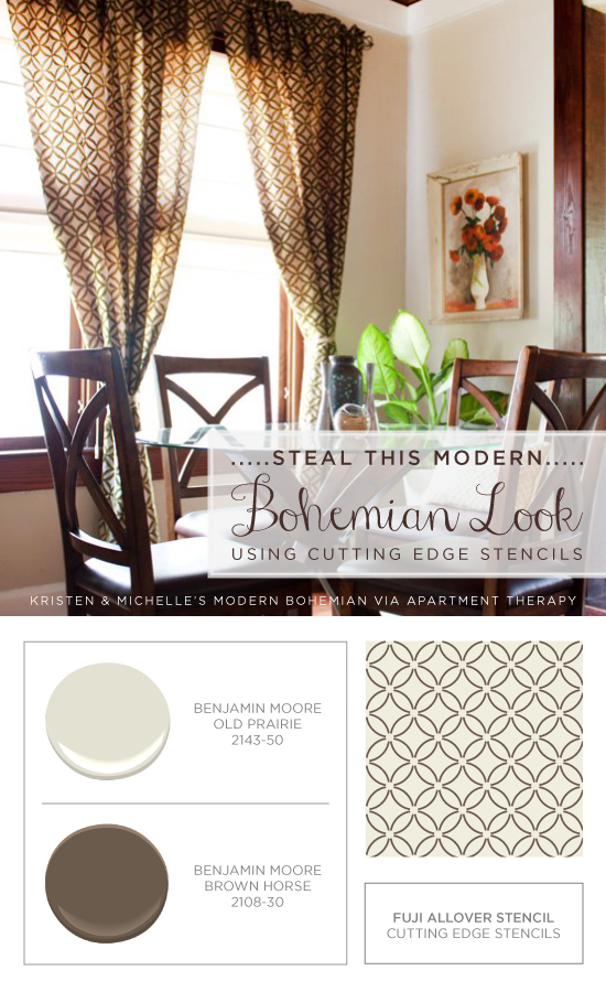 Use the Fuji Stencil in these Benjamin Moore colors to get these gorgeous diy curtains! http://www.cuttingedgestencils.com/stencil-wall-stencils-fuji.html