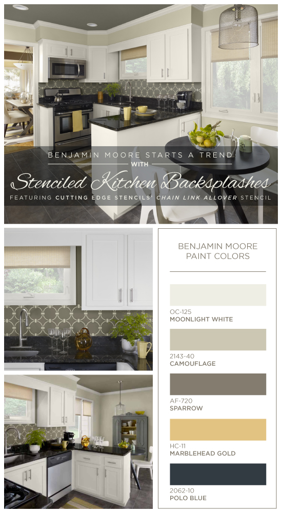 Benjamin Moore Starts a Trend with Stenciled Kitchen Backsplashes on kitchen paint ideas, kitchen cabinet color ideas, kitchen color trends 2013, kitchen colors and ideas 2014, kitchen styles for 2013, kitchen wall colors with white cabinets, best paint colors 2013,