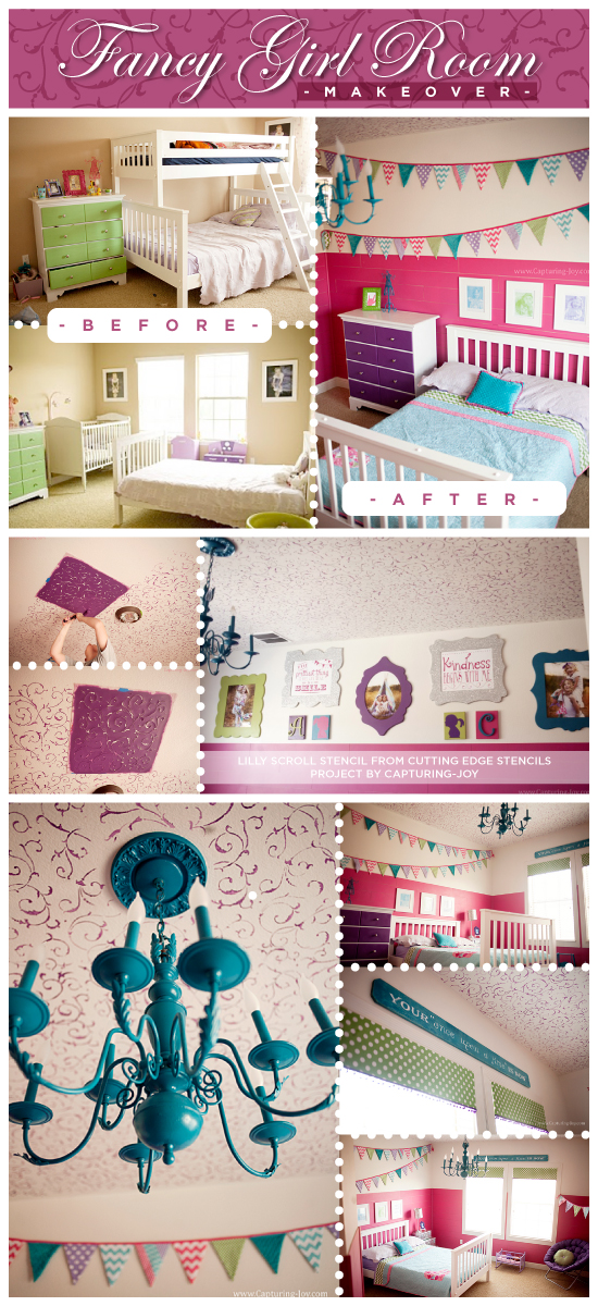Gorgeous stenciled girls room idea uses the Lily Scroll Stencil on the painted ceiling! http://www.cuttingedgestencils.com/scroll-stencil.html