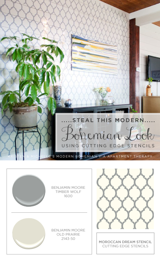 Stencil the Moroccan Dream pattern on your accent wall in Benjamin Moore timber wolf! http://www.cuttingedgestencils.com/moroccan-stencil-design.html