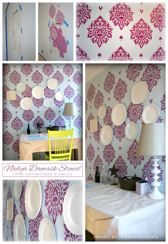 Cutting Edge Stencils shares a pink craft room idea using the Nadya Damask Stencil! http://www.cuttingedgestencils.com/damask-moroccan-stencil.html