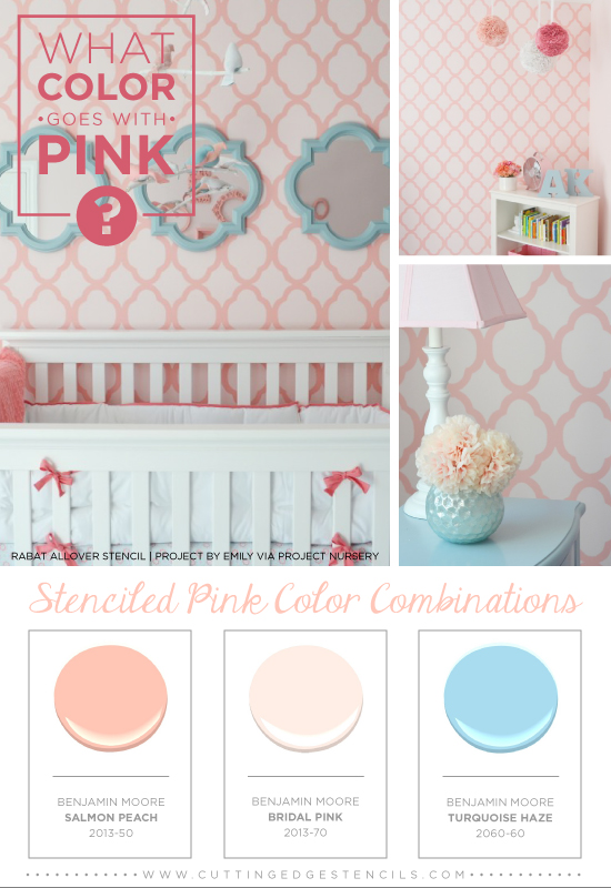 Stenciled Pink And Brown Color Combination Using The Rabat Stencil Benjamin Moore Paints Http