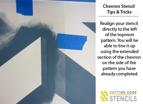 Learn how to stencil the Chevron Allover pattern on your walls! http://www.cuttingedgestencils.com/chevron-stencil-pattern.html#desc