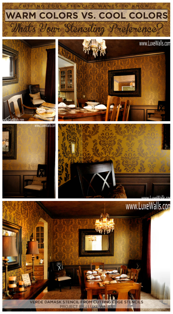 Use the Verde Damask Stencil by Cutting Edge Stencils to get a similar look to this gold and taupe stenciled dining room.  http://www.cuttingedgestencils.com/damask-stencil-wallpaper.html