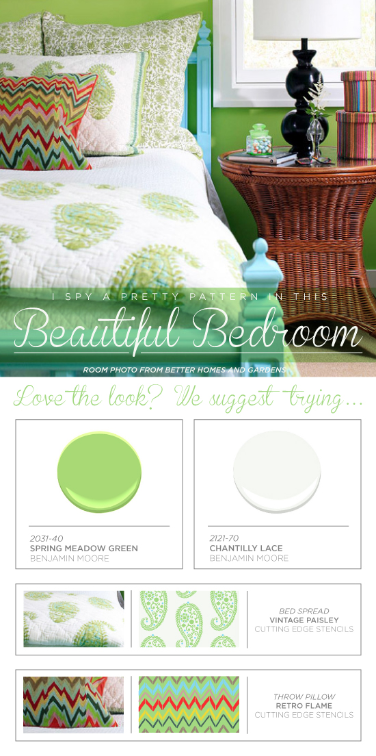 Paint the vintage paisley or retro flame stencil to get these designer bedroom decor looks! http://www.cuttingedgestencils.com/paisley-stencil-vintage.html