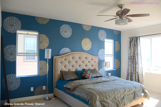 Blue stenciled bedroom makeover using the Zinnia Grande Flower Stencil from Cutting Edge Stencils! http://www.cuttingedgestencils.com/flower-stencil-zinnia-wall.html