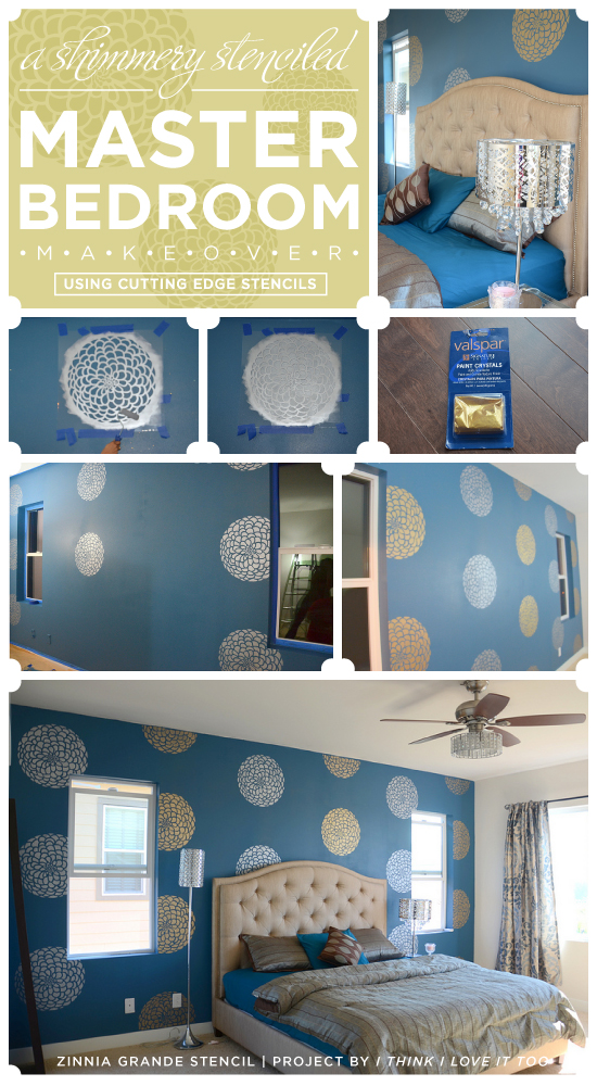 Use the Zinnia Grande Flower Stencil from Cutting Edge Stencils to get this look! http://www.cuttingedgestencils.com/flower-stencil-zinnia-wall.html