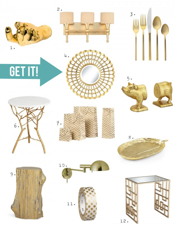Gold Home Decor Accessories That Would Complement A Stenciled Accent