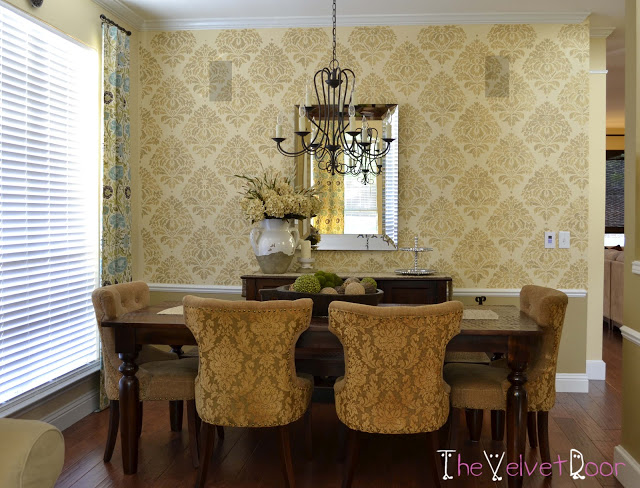 A yellow/gold kerry Damask stenciled dining room. http://www.cuttingedgestencils.com/wall-damask-kerry.html