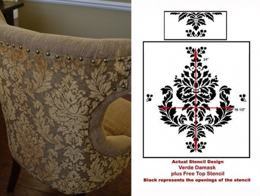 Use the Verde Damask stencil on a chair to get this patterned look! http://www.cuttingedgestencils.com/damask-stencil-wallpaper.html