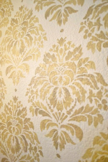 Add Valspar's Glitter Gold to your stencil paint before painting the Kerry Damask Stencil from Cutting Edge Stencils. http://www.cuttingedgestencils.com/wall-damask-kerry.html