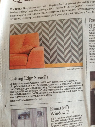 Cutting Edge Stencils is featured in the LA Times as a DIY decorating solution for new apartment dwellers! http://www.latimes.com/home/la-lh-diy-decorating-shortcuts-stikwood-stencils-window-film-and-more-20130906,0,6389466.story