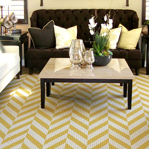 Use the Heringbone Stencil from Cutting Edge Stencils to paint a rug! http://www.cuttingedgestencils.com/herringbone-stencil-pattern.html