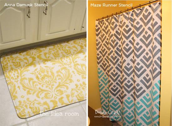 Stencil bathrom decor accessories like this Maze Runner stenciled shower curtain or Anna Damask stencild bath mat. http://www.cuttingedgestencils.com/geometric-stencil-pattern-maze.html