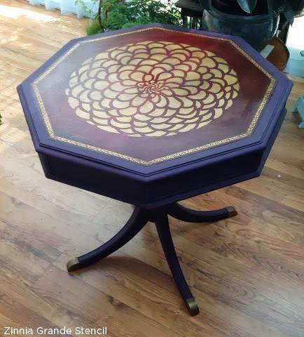 Stencil an old table using the Zinnia Grande stencil in gold! http://www.cuttingedgestencils.com/flower-stencil-zinnia-wall.html