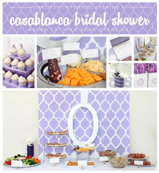 A Casablanca stenciled backdrop for a purple bridal shower! http://www.cuttingedgestencils.com/allover-stencils.html