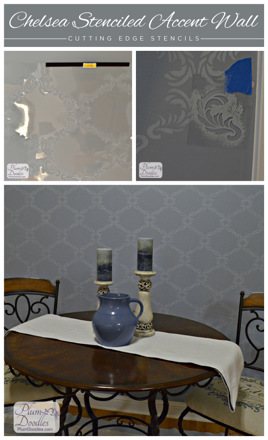 Stenciled grey room uses the Chelsea Stencil from Cutting Edge Stencils. http://www.cuttingedgestencils.com/chelsea-allover-wall-pattern.html