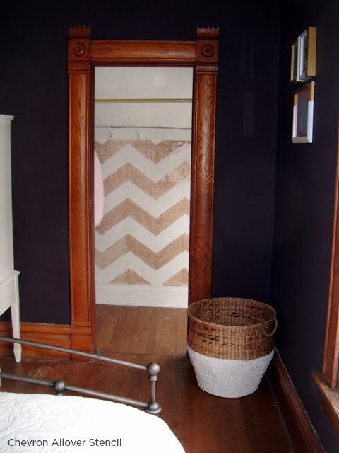 Stencil a chevron pattern from Cutting Edge Stencils in a closet in a glitter gold! http://www.cuttingedgestencils.com/chevron-stencil-pattern.html