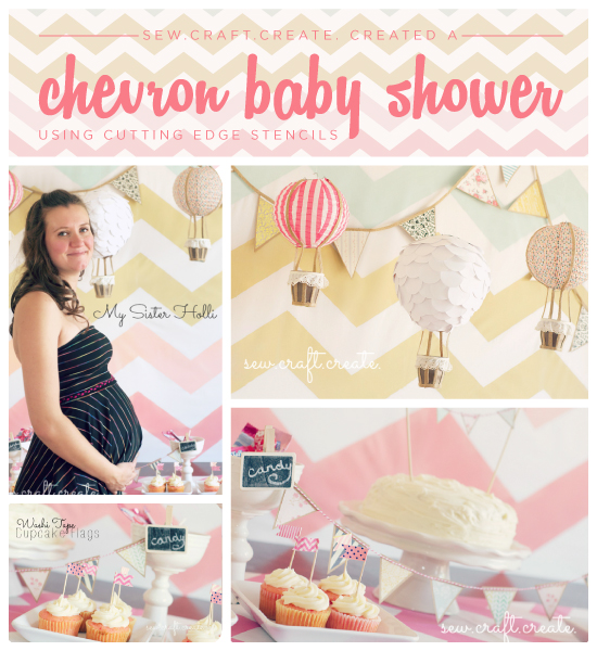 A chevron stencild backdrop for a yellow and pink baby shower! http://www.cuttingedgestencils.com/chevron-stencil-pattern.html