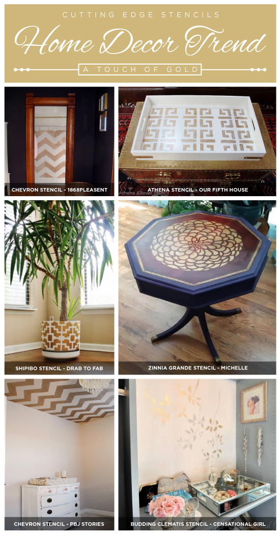 Cutting Edge Stencils shares gold home decor trends and stencil ideas! http://www.cuttingedgestencils.com/wall-stencils.html