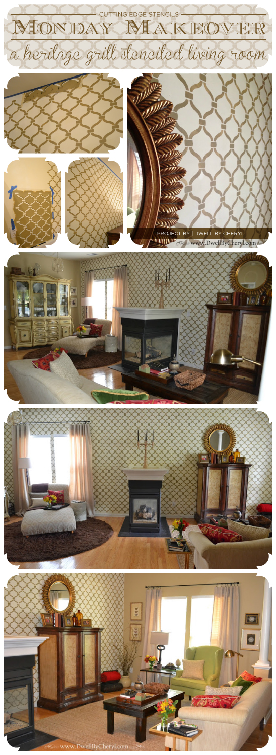 A Living Room Makeover That Features A Gorgeous Heritage Grill Stenciled  Accent Wall. The Stencil