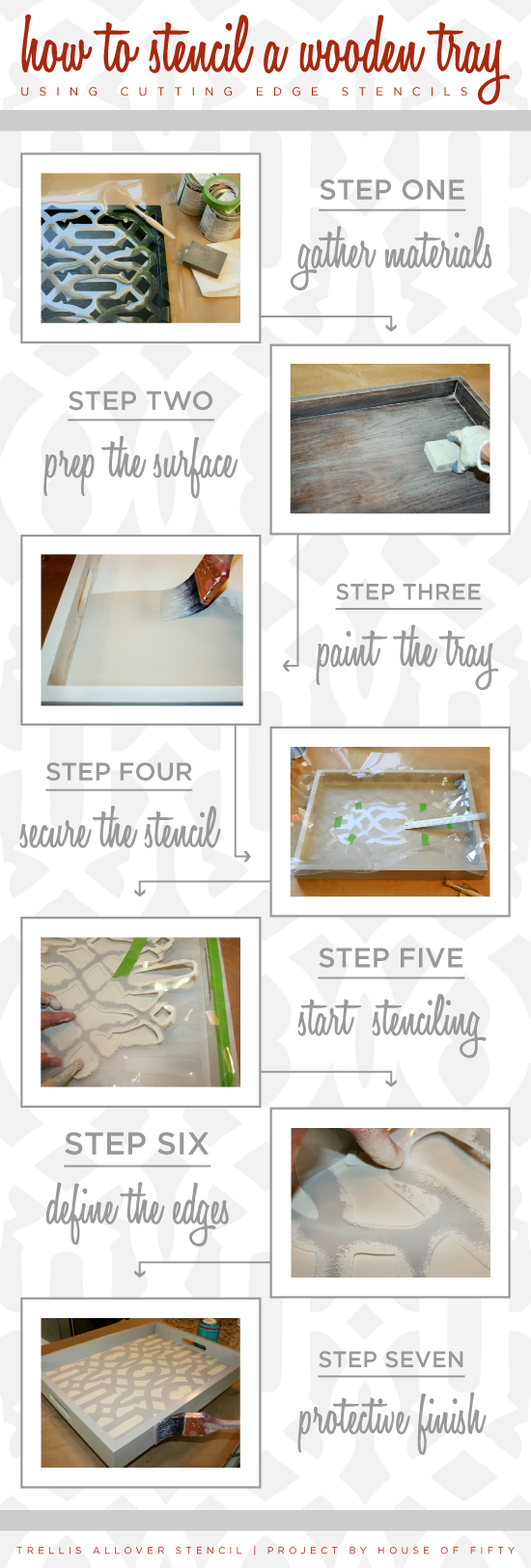 Simples steps to learning how to stencil a wooden tray using stencils from Cutting Edge Stencils! http://www.cuttingedgestencils.com/allover-stencil.html