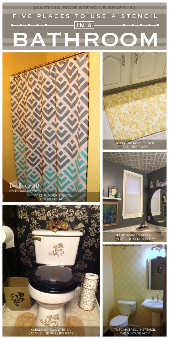 Five ways to make over a bathroom using stencils from Cutting Edge Stencils. http://www.cuttingedgestencils.com/wall-stencils-stencil-designs.html