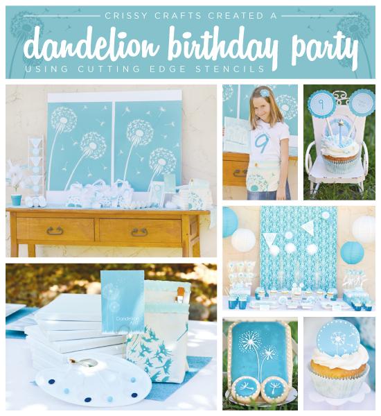 A Dandelion stenciled backdrop for a blue and white Make A Wish child's birthday party! http://www.cuttingedgestencils.com/dandelion-stencil.html