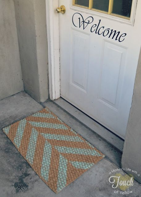 Paint the Herringbone Stencil on an outdoor rug to create diy door mat! http://www.cuttingedgestencils.com/herringbone-stencil-pattern.html