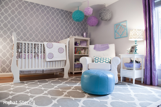 A Rabat Allover Stenciled Accent Wall In Lilac S Nursery Room Http
