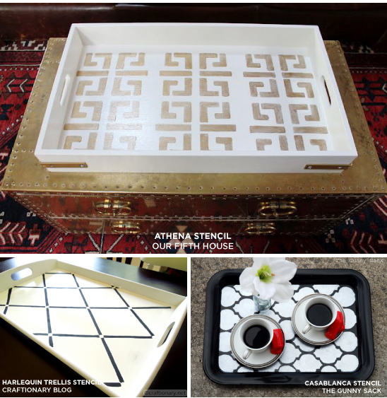 Stenciled tray ideas that are so easy using Cutting Edge Stencils! http://cuttingedgestencils.com/blog/celebrate-mothers-day-in-style-with-a-stenciled-decorative-tray.html
