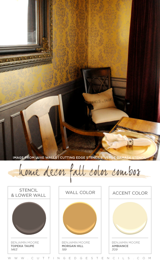 This Verde Damask Stenciled Dining Room Features A Great Fall Color Combination Http