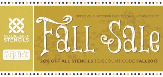 Stencil SALE! Take 20% off all stencil designs at Cutting Edge Stencils from 10/24 through 11/1 using the code FALL2013! Shop now: http://www.cuttingedgestencils.com/wall-stencils-stencil-designs.html