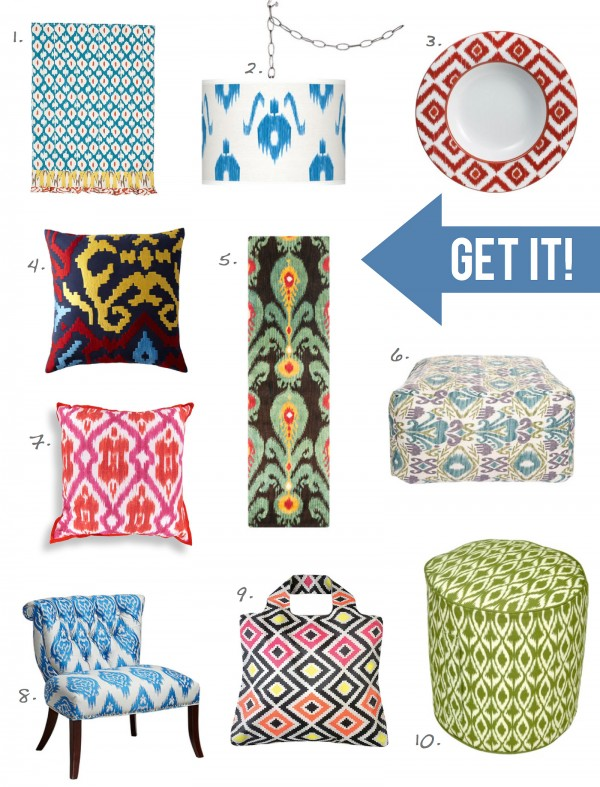 Stencil an Ikat pattern using Cutting Edge Stencils. http://www.cuttingedgestencils.com/products_search.php?search_category_id=0&search_string=ikat&search=GO