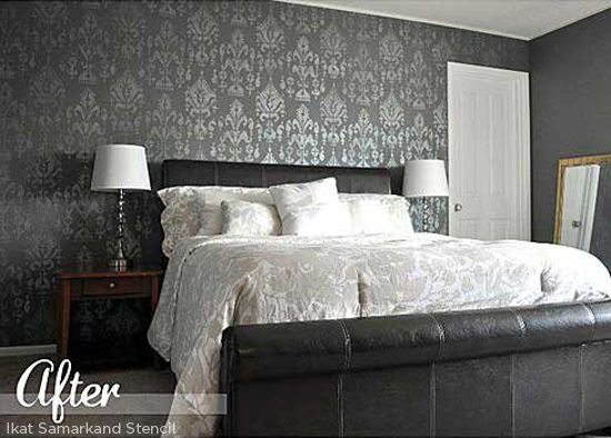 Stencil your bedroom using the Ikat Samarkand Stencil from Cutting Edge Stencils. http://www.cuttingedgestencils.com/ikat-stencil-uzbek.html