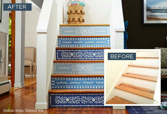 Stenciled stair risers found on One Kings Lane using the Indian Inlay Kit from Cutting Edge Stencils. http://www.cuttingedgestencils.com/indian-inlay-stencil-furniture.html