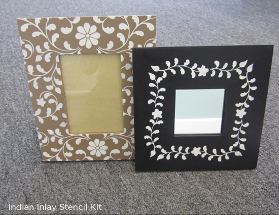 Stencil tips to easily paint a picture frame using the Indian Inlay Kit from Cutting Edge Stencils. http://www.cuttingedgestencils.com/indian-inlay-stencil-furniture.html