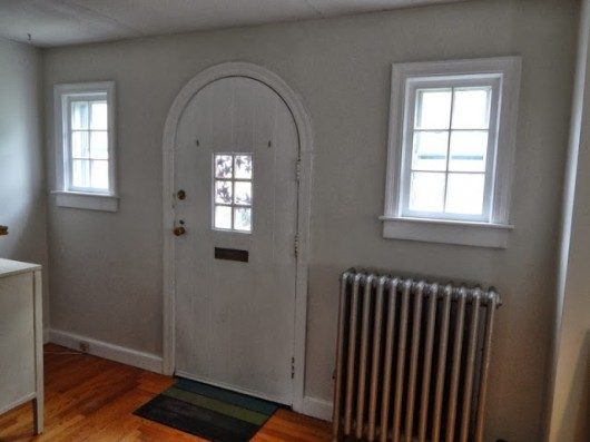 A shot of the entryway before it was stenciled with Cutting Edge Stencils.  http://www.cuttingedgestencils.com/trellis-stencil-harlequin.html