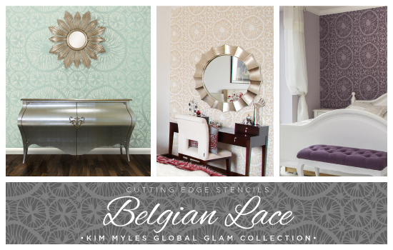 New Belgian Lace stencil pattern designed by Kim Myles in her Global Glam Collection. http://www.cuttingedgestencils.com/kim-myles.html