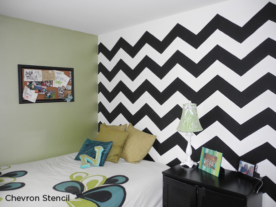 The Chevron Stencil From Cutting Edge Stencils In Black And White Http