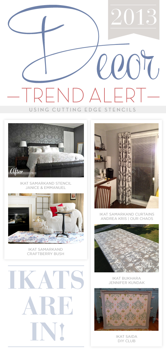 Stenciled home decor ideas using the trendy Ikat patterns from Cutting Edge Stencils. http://www.cuttingedgestencils.com/products_search.php?search_category_id=0&search_string=ikat&search=GO