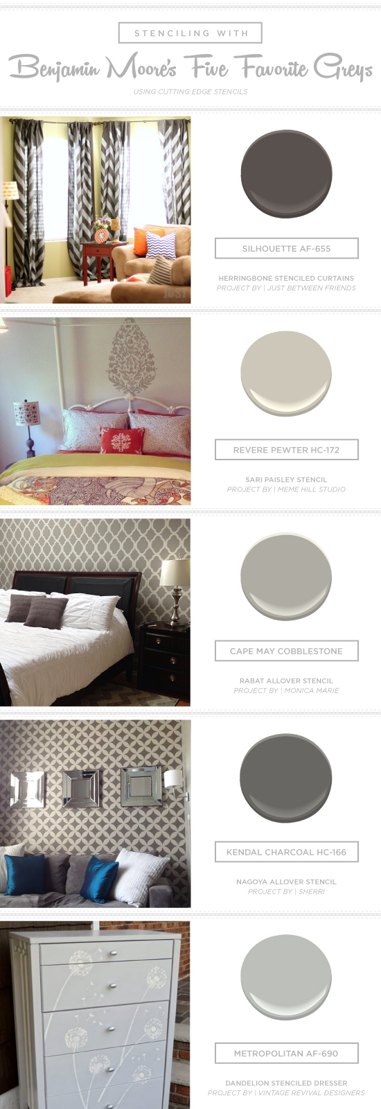 Stenciling With Benjamin Moore S Five Favorite Grays Stencil Stories