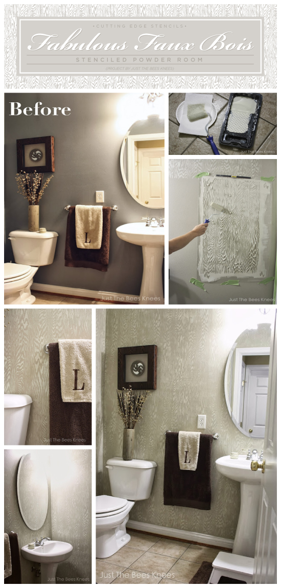 Stenciled bathroom makeover using the Faux Bois Stencil from Cutting Edge Stencils! http://www.cuttingedgestencils.com/faux-bois-stencil-pattern.html
