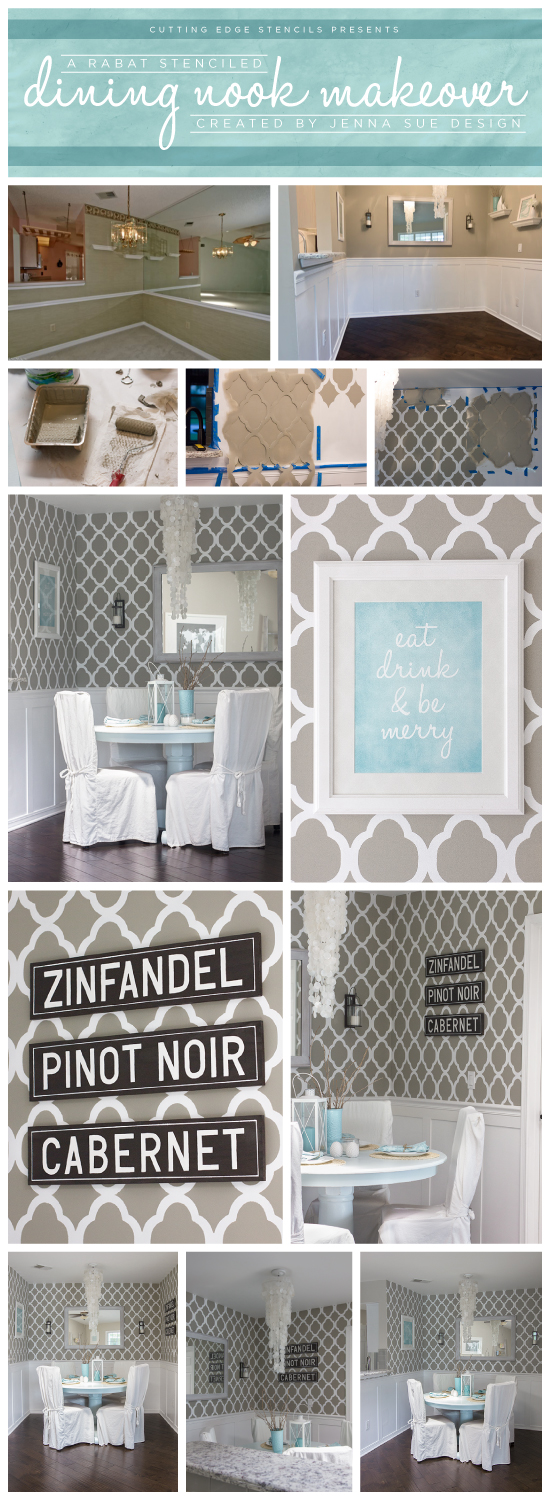 A grey dining nook makeover using the Rabat Stencil from Cutting Edge Stencils. http://www.cuttingedgestencils.com/moroccan-stencil-pattern-3.html