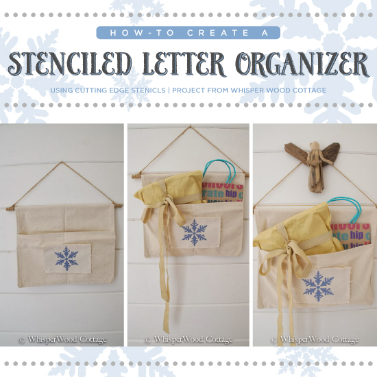 Six simple steps to stenciling a holiday letter organizer using the Snowflake Stencil! http://www.cuttingedgestencils.com/snowflake-stencils.html