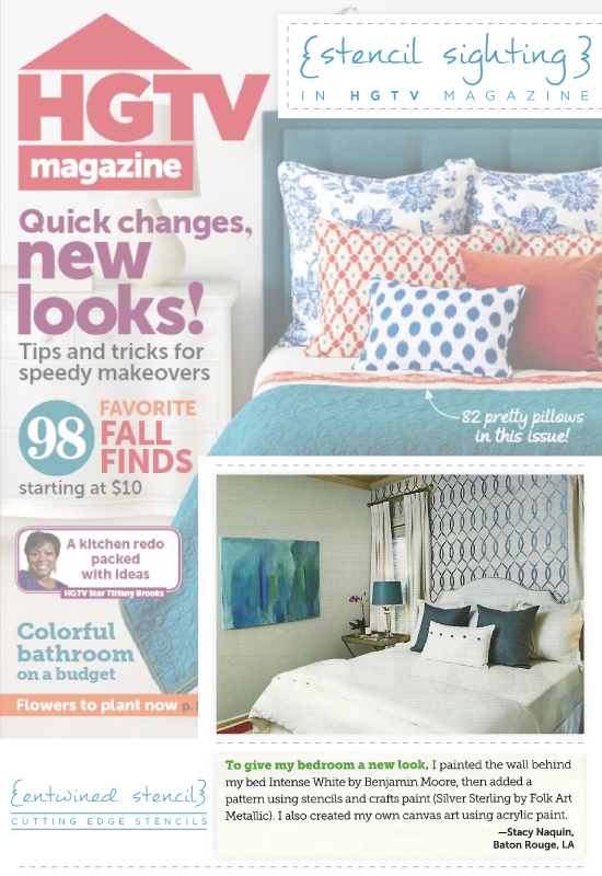 Entwined stenciled bedroom painted by Stacy Naquin featured in HGTV Magazine. http://www.cuttingedgestencils.com/stencil-pattern-2.html