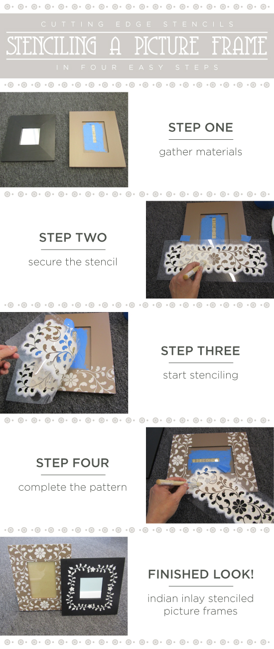 Learn how to stencil picture frames using the Indian Inlay Stencil Kit from Cutting Edge Stencils. http://www.cuttingedgestencils.com/indian-inlay-stencil-furniture.html