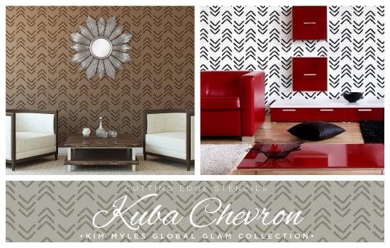 New Kuba Chevron stencil pattern designed by Kim Myles in her Global Glam Collection. http://www.cuttingedgestencils.com/kim-myles.html