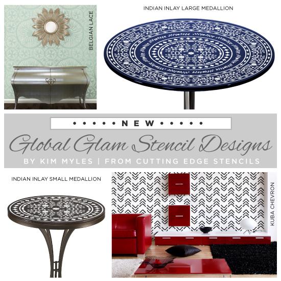 New stencil designs designed by Kim Myles in her Global Glam Collection. http://www.cuttingedgestencils.com/kim-myles.html