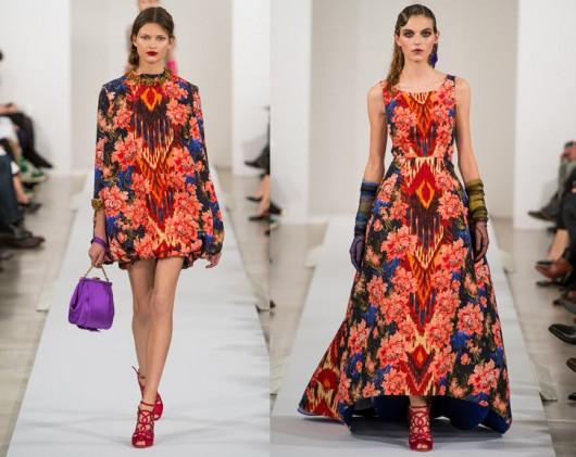 ikat prints in fashion spotted in the Oscar de la Renta fall 2013 show
